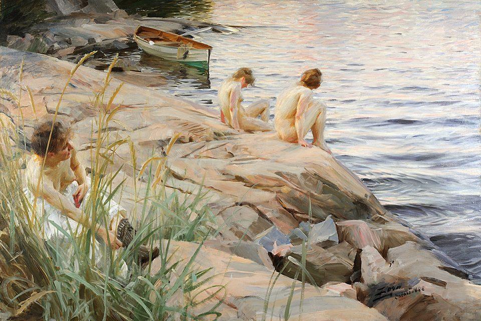 Målning av nakna människor på klippor vid hav i milt sommarljus.