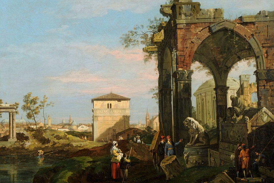 Målning av ett landskap med arkitektur i många olika stilar. Människor i förgrunden.
