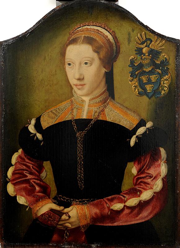 Porträttmålning av kvinna i fin 1500-talsdräkt och en halsbandskedja.