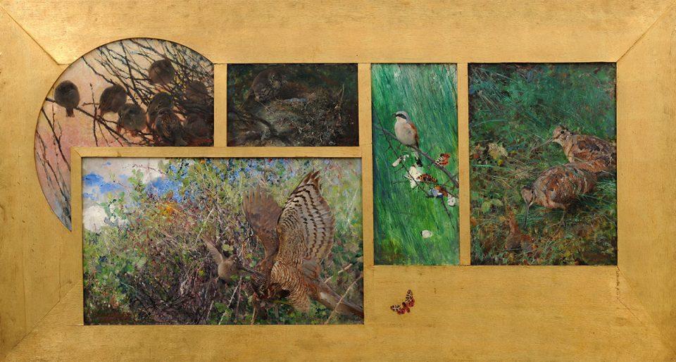 Flera målningar med motiv av natur och fåglar samlade i en gemensam guldram.