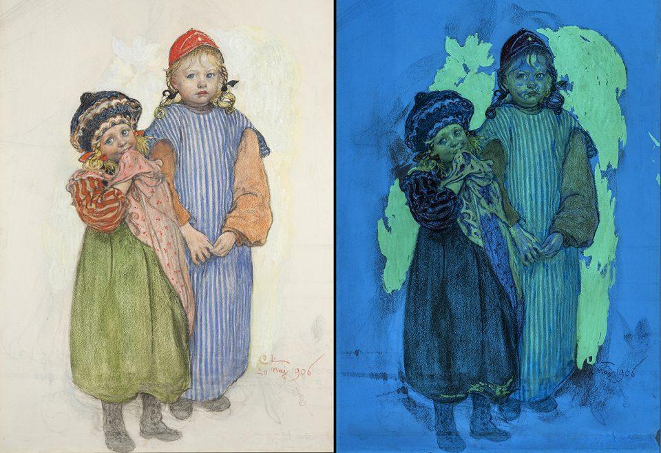 Carl Larssons akvarell Snickare Hellbergs ungar med UV bild 1200x800