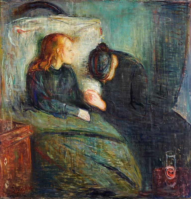 Oljemålning med en sjuk kvinna som sitter upp i sin säng och en sörjande person intill.