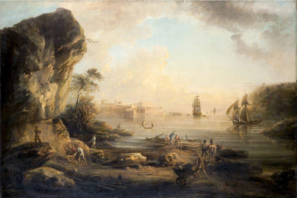 Målning av ett landskap där flera människor arbetar. En klippa i förgrunden, ett palats och två skepp i bakgrunden.