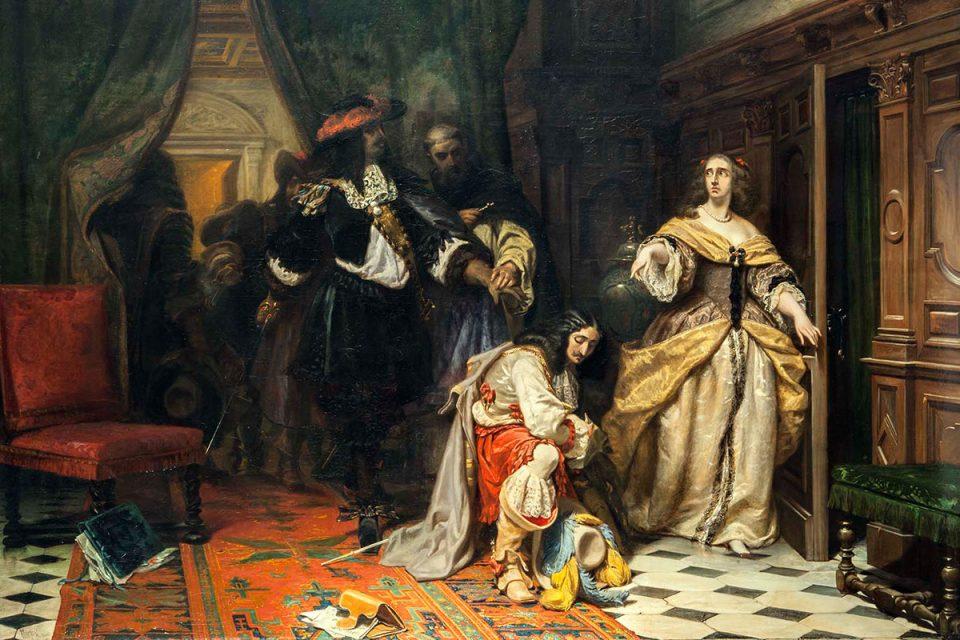 Målning av drottning Kristina. Hon står vid en öppnad dörr som för att lämna rummet. Drottningen befaller sina drabanter att döda Monaldeschi i Fontainebleau.