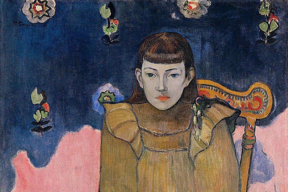 Porträttmålning av ung flicka som sitter på en stol med blicken framåt. Bakgrund en är i blå och rosa fält.