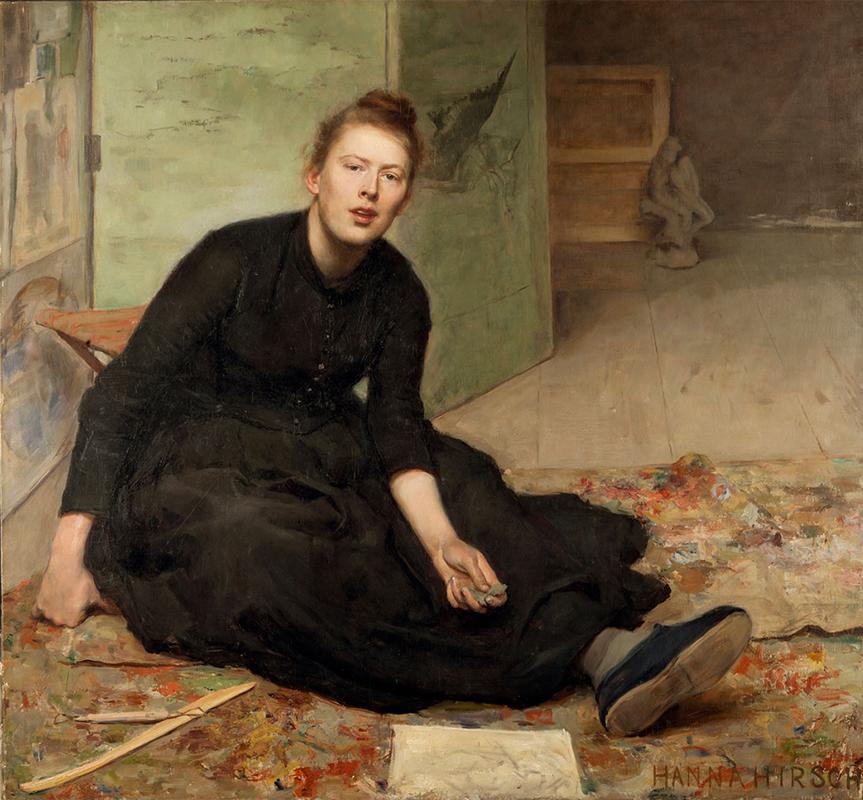 Oljemålning av kvinna i svart, heltäckande klänning, sittandes på golvet med avslappnad stil.