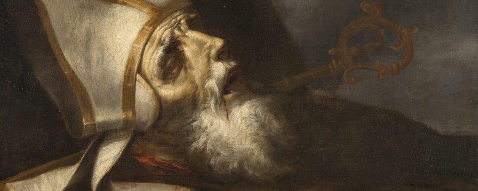 Oljemålning i mörka färger av en död biskops huvud, med vit huvudbonad.