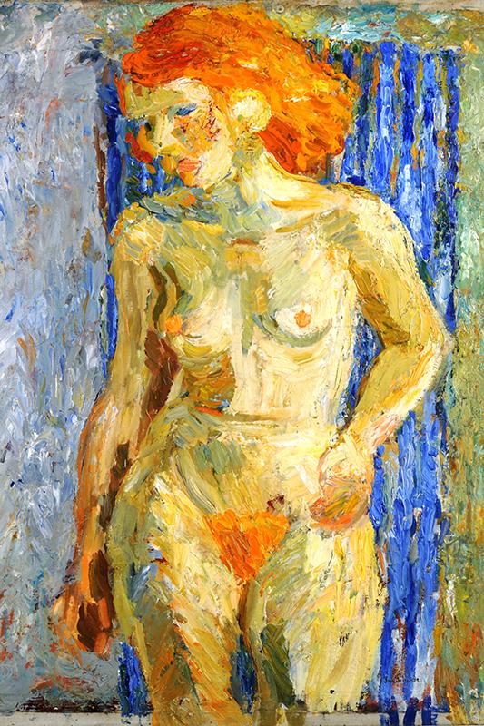 Oljemålning av naken kvinna i närbild, rött hår, blå bakgrund. Grova penseldrag och tjocka färglager.