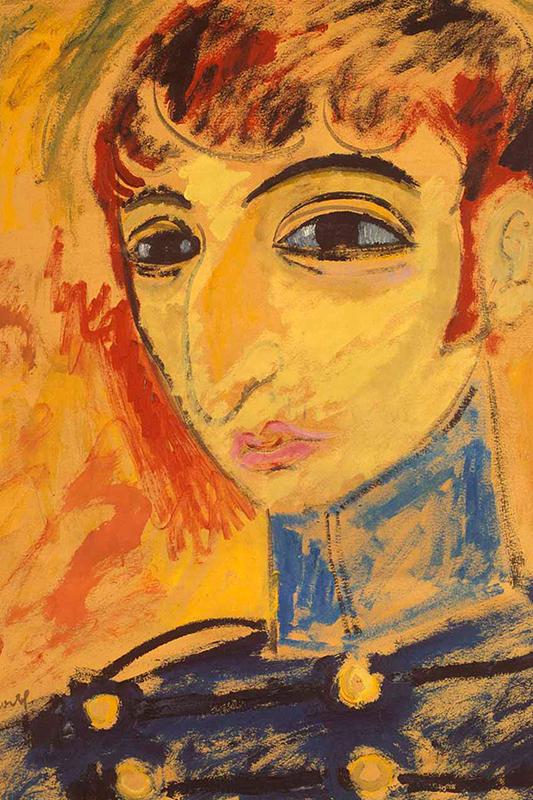 Självporträtt av Isaac Grünewald, i starka gulröda färger. Skissartad stil med överdrivna ansiktsdrag.