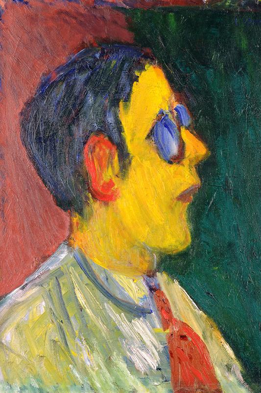 Självporträtt av Ivan Ivarson i profil med starka färger. Ansiktet är gult och han har blå glasögon.