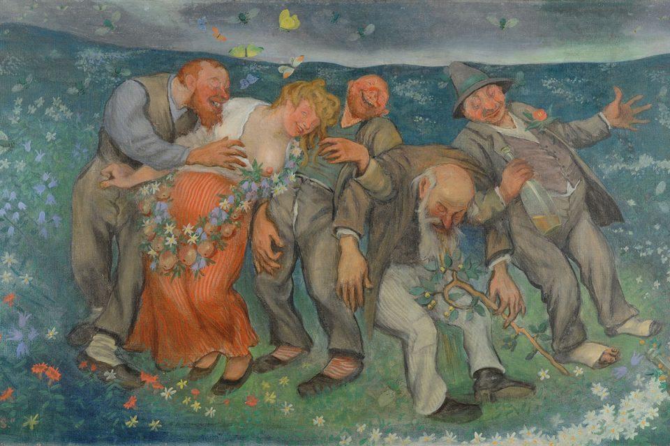 Målning av en grupp berusade personer i utomhusmiljö på en sommaräng.