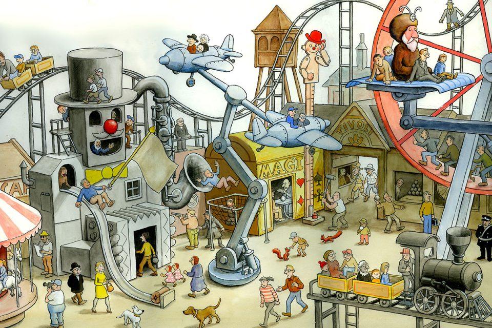 Illustration av ett tivoli i fågelperspektiv med många människor och fantasifulla åkattraktioner