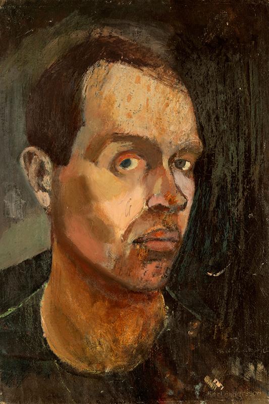 Självporträtt av Karl Andersson i bruna nyanser, i trekvartsprofil med blicken mot betraktaren.