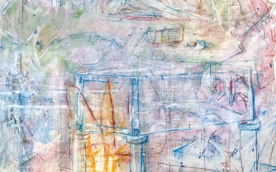 Abstrakt målning i främst lila och blå färger.