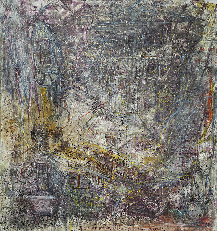 Abstrakt målning i främt blå, lila, grå och gula nyanser