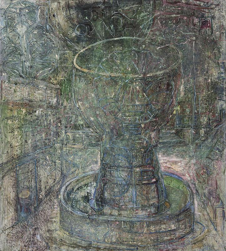 Målning föreställandes en fontän i främst blå, grå och gröna nyanser