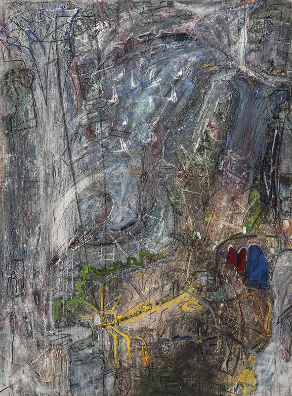 Abstrakt målning i främst grå och lila nyanser, vissa gula inslag