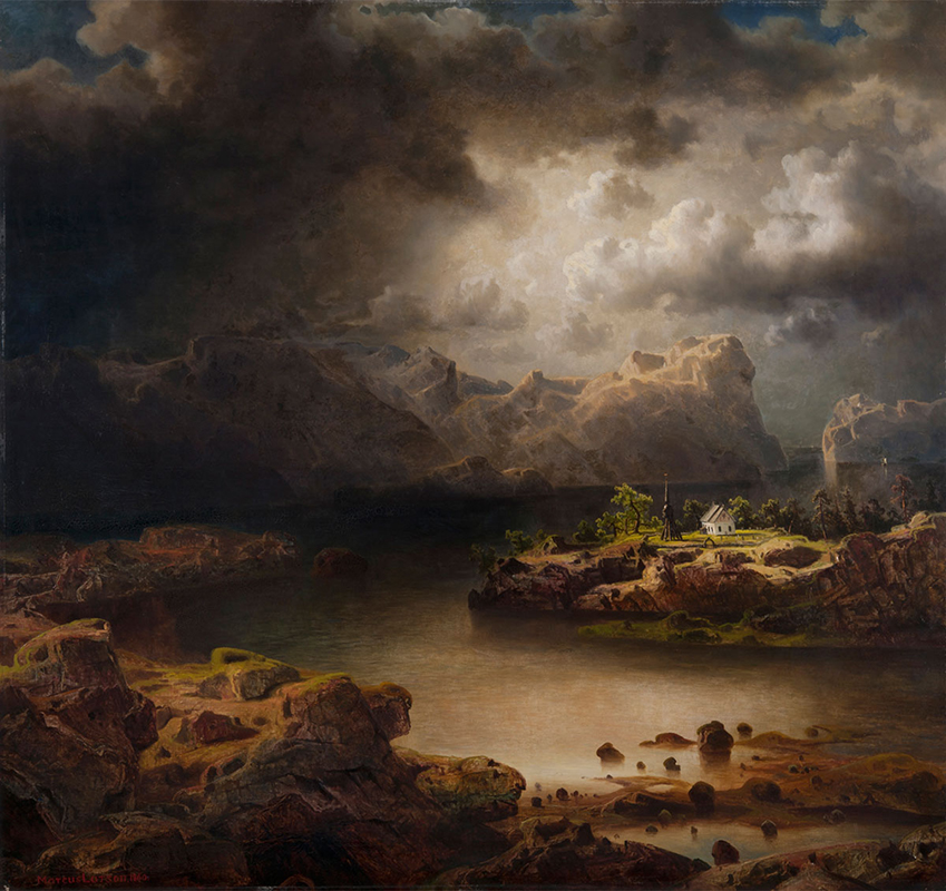 Målning av ett bergigt landskap med dramatiska moln, mörkt vatten och en liten vit kyrka.