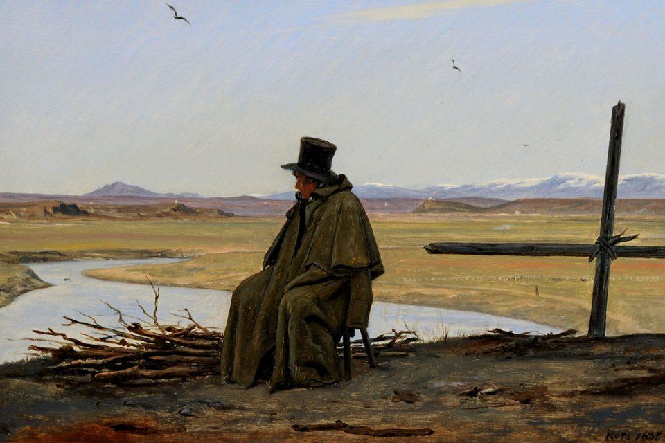 Målning av en sittande man i hög hatt och rock som blickar ut över ett kargt landskap.