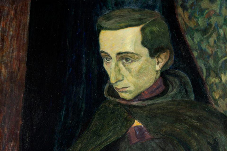 Porträtt i mörka färger av man med ett allvarligt, ledsamt ansiktsuttryck, blicken i fjärran.