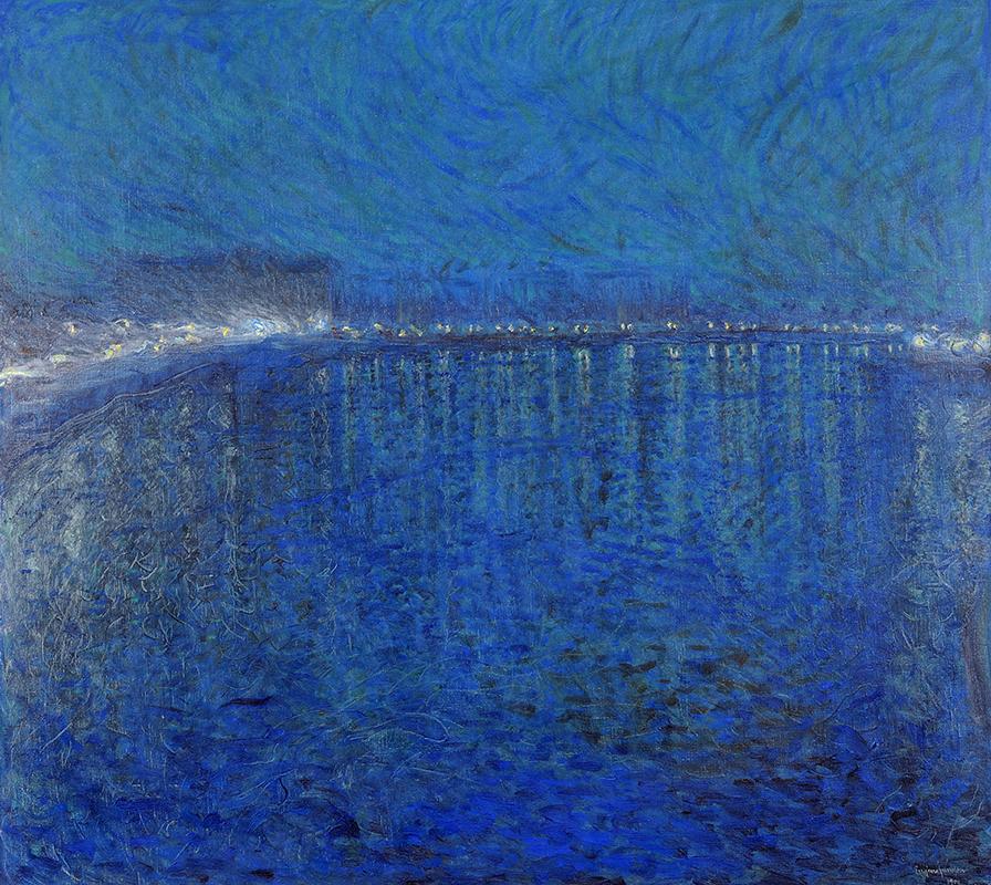 Målning enbart i blå nyanser av utsikt över vatten och himmel i skymningstid under den blå timmen