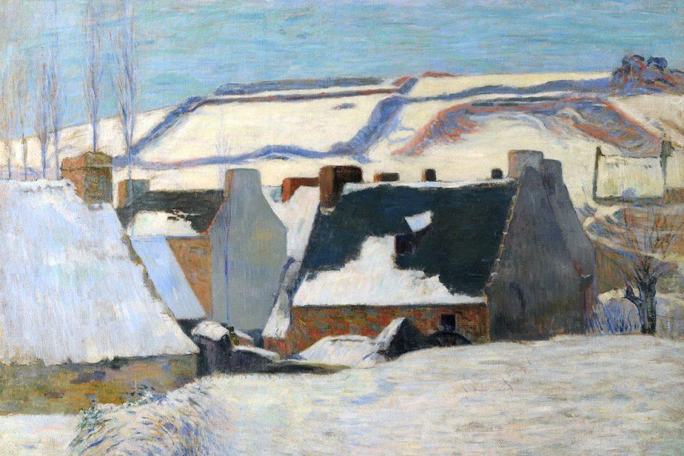 Målning i olja av ett vinterlandskap med hustak och i bakgrunden snötäckta kullar.