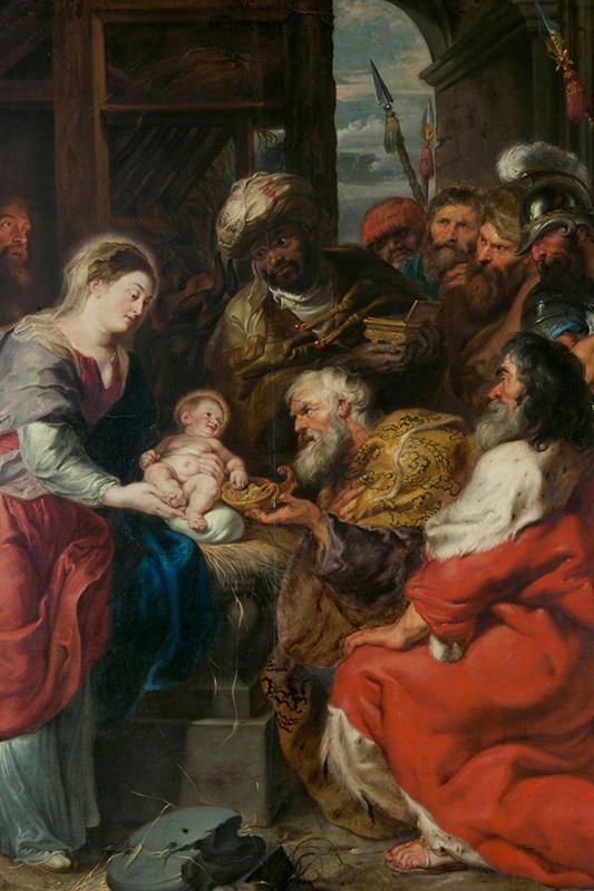 Målning av Jesusbarnet omgiven av Josef, Maria, de tre vise männen med flera. Vissa har dyrbara kläder.