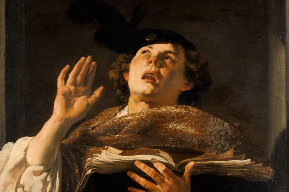 Dramatiskt porträtt i olja av en person som sjunger med ena handen lyft och blicken riktad uppåt.