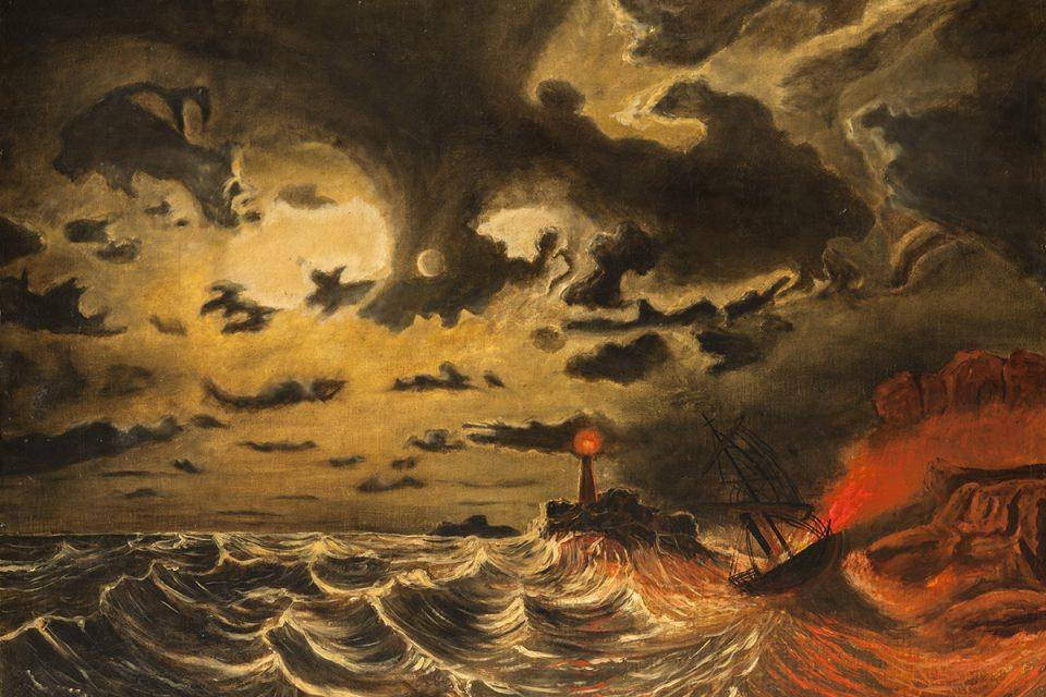 Målning av ett stormande hav. Havet är rött och i himlen gulaktigt med mörka moln.