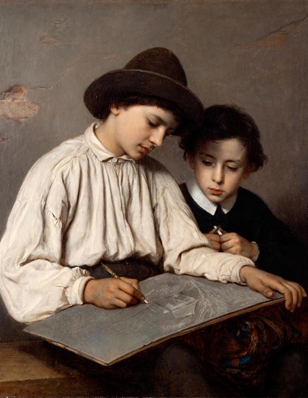 Oljemålning av två pojkar, den äldre i vit skjorta och hatt skisser medan en yngre tittar på över axeln.