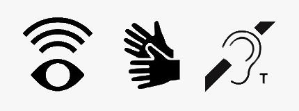 Symboler i svartvit för syntolkning, teckenspråkstolkning och hörslinga
