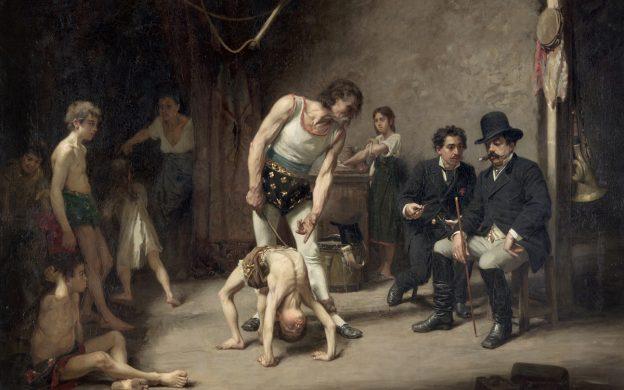 Målning av en akrobatfamilj som visar upp sina konster inför cirkusdirektören.