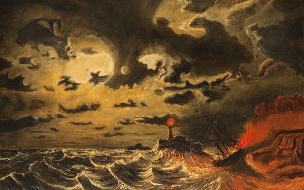 Målning av en brinnande ångbåt på ett stormande hav. Havet är rött och i himlen finns ett starkt ljus bland de mörka molnen.