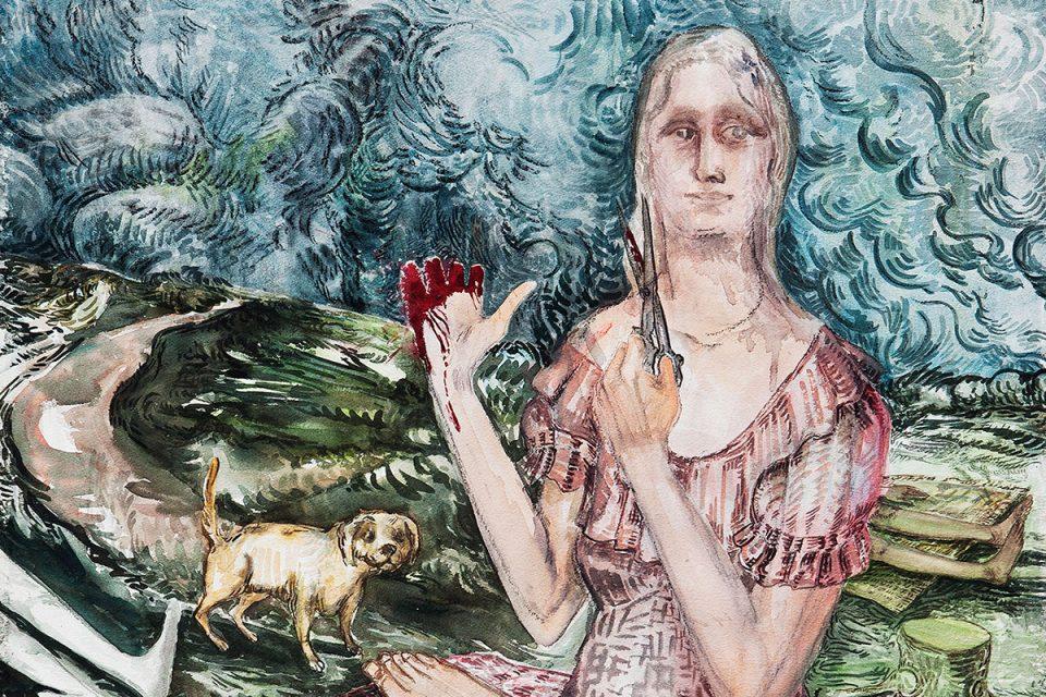 Akvarellmålning av kvinna i rosa klänning som håller upp en sax med ena handen och visar blodiga, avklippna fingrar på den andra.