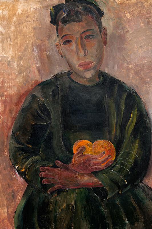 Porträttmålning av kvinna som sitter med blicken riktad rakt fram. Hon är klädd i mörkgrönt och håller ett par frukter i famnen.