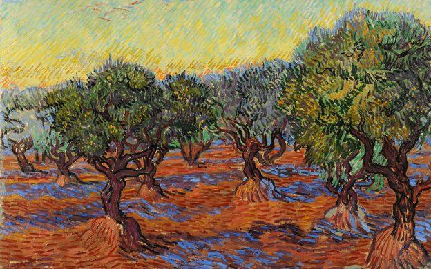Oljemålning i intensiva färger med korta penseldrag som föreställer krokiga olivträd.