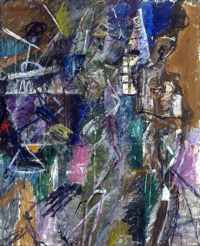 Målning i blandteknik, abstrakt motiv i starka blå, lila, gröna nyanser.