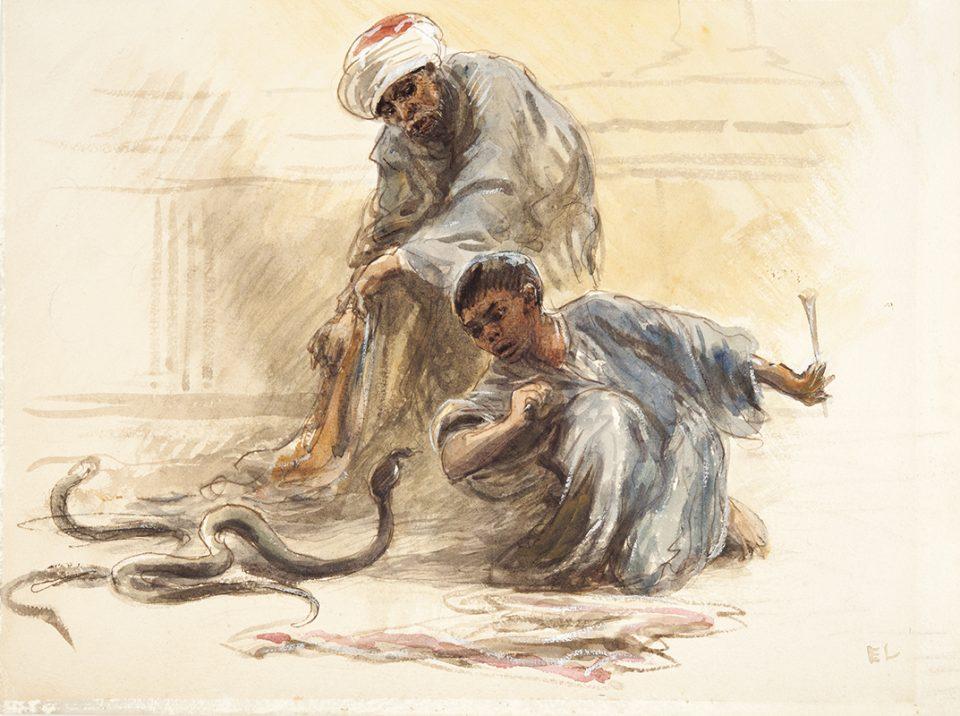 Akvarellmålning av pojke som sitter på huk mittemot en orm, har äldre ormtjusare bakom sig