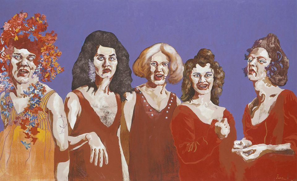 Oljemålning av fem kvinnor i röda klänningar mot lila bakgrund