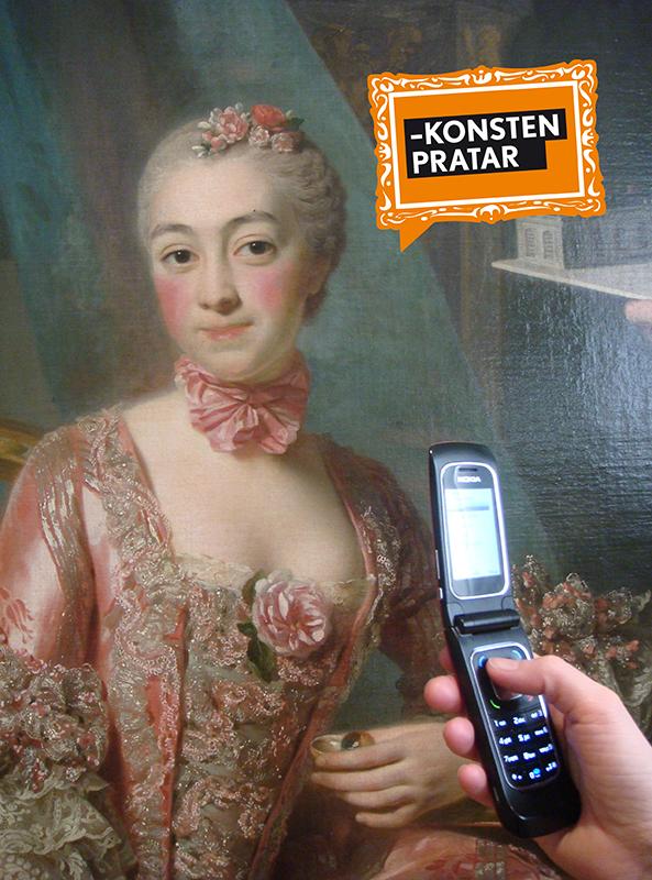 Mobiltelefon framför porträttmålning av 1700-tals dam