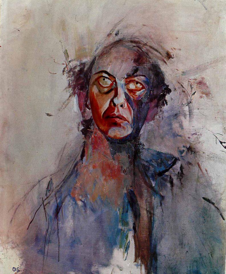 Dramatisk porträttmålning i lila, svart och beige