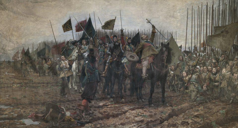 Målning av soldater i samlad trupp på hästar före slaget vid Lützen