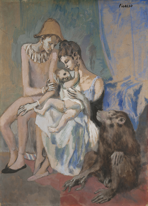 Målning i bleka färger av ett par klädda i akrobatkläder sittandes med ett barn. På golvet bredvid finns en apa.