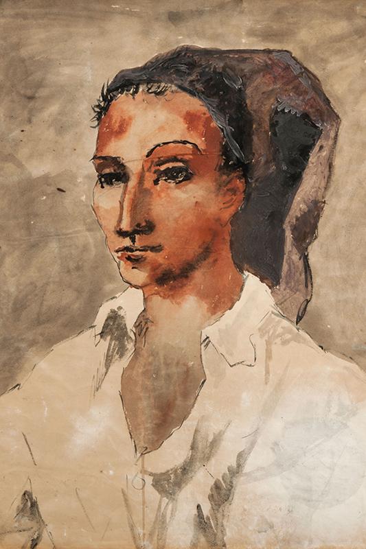 Skissartat porträtt av en yngling i blandad teknik, med mest bruna toner.