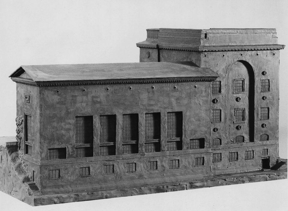 Svartvit foto av arkitektmodell av flygel till Göteborgs konstmuseum