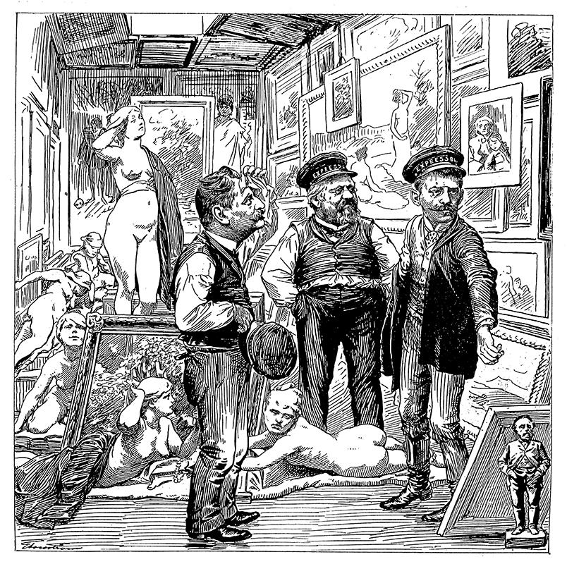 Svartvit illustration av tre budmän i ett litet rum omgivna av tavlor och skulpturer.