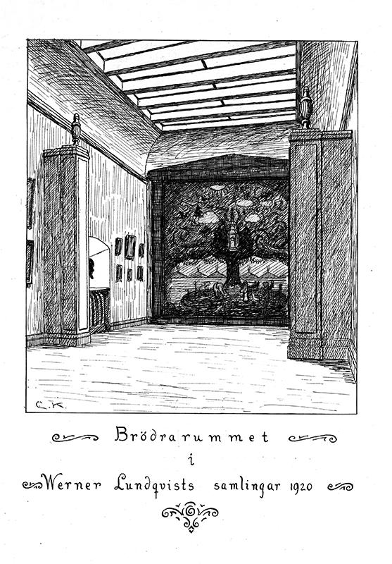 Svartvit illustration av ett museirum