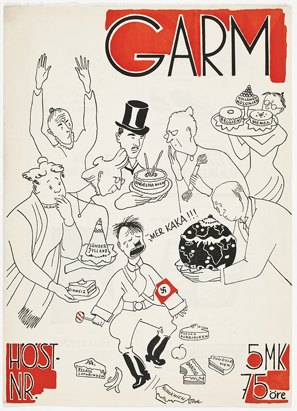 Satirteckning från 1938 med Adolf Hitler i centrum.
