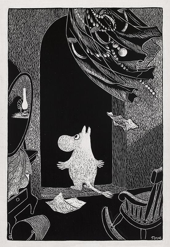 Svartvit illustration av ett mumintroll som står i mörk dörröppning.