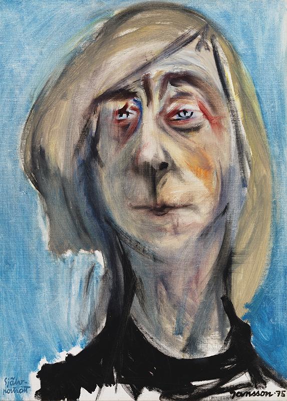 Porträttmålning av äldre kvinna med blond page, klarblå bakgrund.